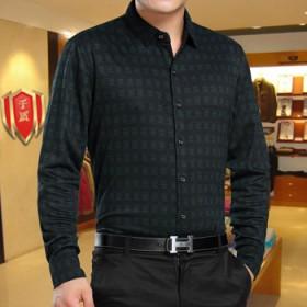 秋冬季长袖打底保暖衬衫中年男士宽松羊毛衬衣