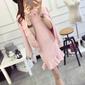 韩版修身长袖针织开衫女毛衣外套鱼尾连衣裙两件套装