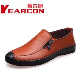 品牌意尔康真皮皮鞋 男士懒人休闲鞋