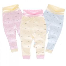 婴儿高腰护肚裤春秋新款男女宝宝0-1岁纯棉秋裤子