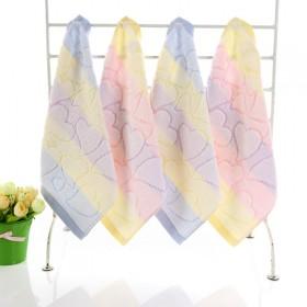 纯棉小方巾婴幼儿童小毛巾割绒卡通全棉面巾带挂钩