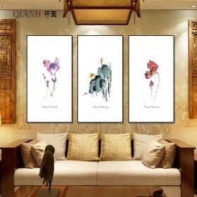 北欧客厅装饰画三联现代简约客厅挂画饭厅沙发背景花卉