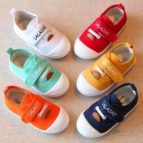 1-4岁儿童白色帆布鞋男女童鞋宝宝布鞋魔术贴休闲鞋
