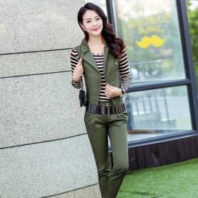 【送腰带】韩版女士气质修身职业装三件套