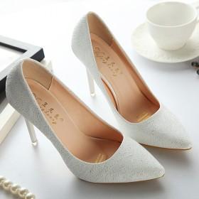 粉色新款春秋高跟鞋尖头OL白色银色百搭单鞋伴娘婚鞋