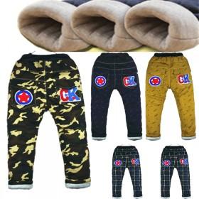 童装冬季儿童牛仔裤加厚加棉男童高腰女长裤卡通潮韩版