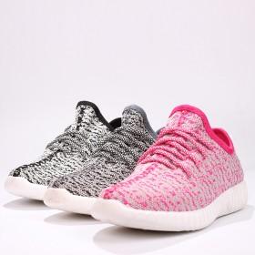 新款秋椰子平底飞织红色运动鞋女跑步鞋透气休闲鞋