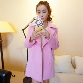 韩版冬装新款加厚茧型粉色毛呢外套大衣