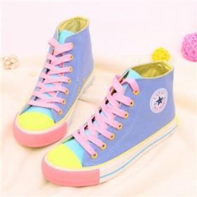 荧光色撞色拼色高帮帆布鞋女鞋子韩版潮休闲鞋学生鞋平