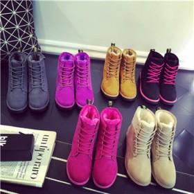 冬季女靴雪地靴潮女短靴短筒加绒平底韩版马丁靴棉鞋子