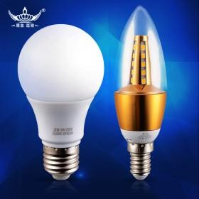 2只装任选5瓦LED灯泡 通用螺口E27 小E14