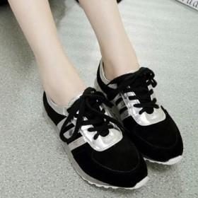 运动鞋女韩版学生2016百搭跑步黑色平底鞋女单鞋