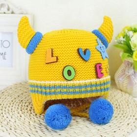 宝宝冬季加绒针织帽 带护耳朵过年新帽子 0-3岁