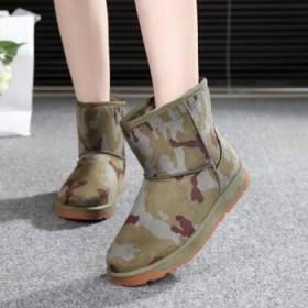 雪地靴女鞋平跟平底学生加绒防滑加厚短筒靴子