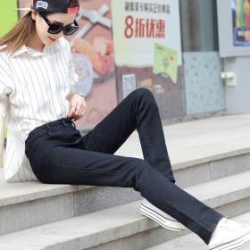 春款女式高腰黑色小直筒牛仔裤女 长裤宽松大码胖mm