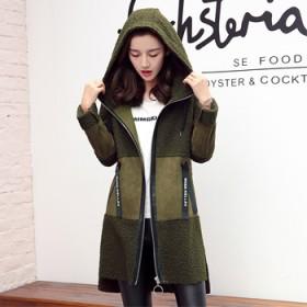 鹿皮绒羊羔毛外套女中长款秋冬装新款拼接皮毛一体大衣