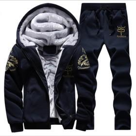 男士运动套装两件套加绒加厚卫衣男休闲裤男青少年学生