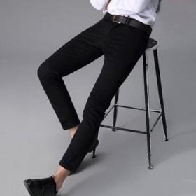 弹力音符 秋冬高弹力休闲裤男束脚修脚男裤子修身