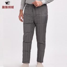 男式直筒内胆保暖裤中老年羽绒裤男外穿大码清仓