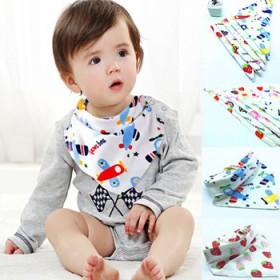 5条装婴儿三角巾纯棉双层宝宝暗扣加厚口水巾卡通围嘴