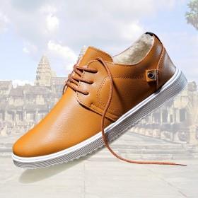 秋冬加绒韩版皮鞋英伦鞋运动商务鞋青年潮鞋系带跑