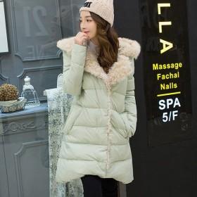 冉冉冬季韩版中长款前短后长亲子装大翻领羊羔毛羽绒服