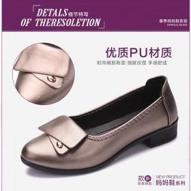 妈妈鞋单鞋舒适软底中老年女鞋中年女士皮鞋休闲老人平