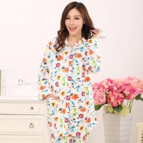 春纯棉绒布月子服长袖孕妇睡衣哺乳衣
