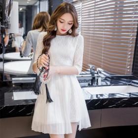 品牌爆款2017新款韩版女装优雅雪纺拼接百褶连衣裙