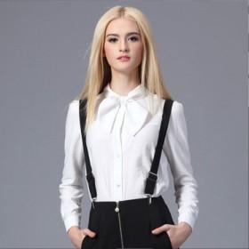 棉麻 蝴蝶结长袖百搭白衬衫