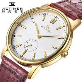 高端超薄防水石英手表 真皮带简约针扣学生情侣腕表