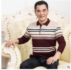 春秋季中年男士长袖T恤圆领条纹中老年男装大码针织衫