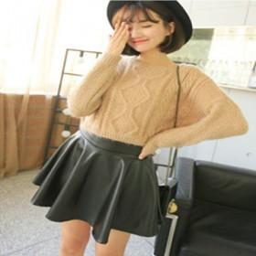 秋冬女装韩版PU半身裙百褶短裙高腰打底裙伞裙