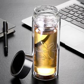 富光玻璃杯双层过滤带盖水杯便携男女办公创意杯子加厚