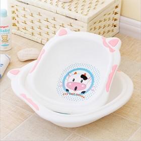 大小组合装新生儿奶牛款加厚婴儿洗脸盆宝宝PP盆