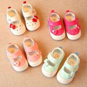1-3岁女童宝宝方口棉布鞋小童单鞋儿童浅口公主鞋子