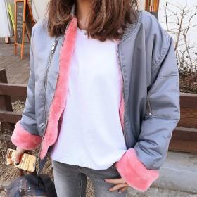 短外套冬季新款棒球服加厚纯色毛内胆飞行员夹克棉服