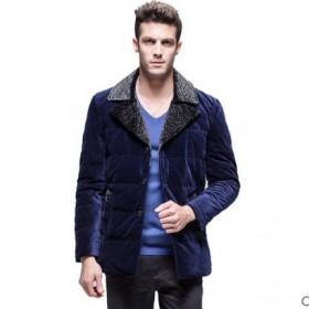 男士秋冬外套大毛领金丝绒加大码羽绒服男装轻薄上衣