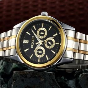 瑞士正品男士手表精钢带男表防水夜光运动石英表学生全