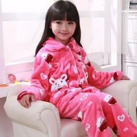 童乐迪 儿童睡衣女童冬季法兰绒加厚套装珊瑚绒家居服