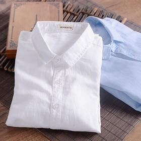 2017春季新款青年白色亚麻衬衫男长袖修身款