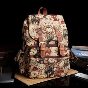 小熊背包双肩包女大容量旅行包学院风复古包包帆布包