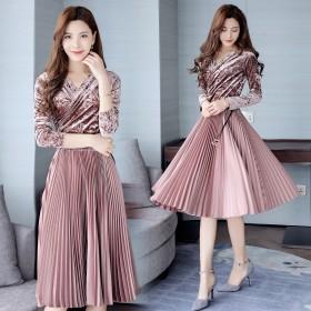 欧美高端大牌女装优雅收腰显瘦打底修身长袖V领连衣裙