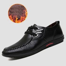 正品男士皮鞋英伦时尚圆头系带加绒保暖豆豆鞋
