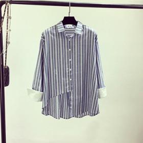 2017春装新款百搭休闲条纹衬衫女棉麻打底衬衣
