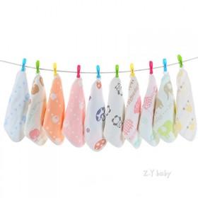 婴儿洗脸巾纱布口水巾喂奶巾小方巾纯棉3条装