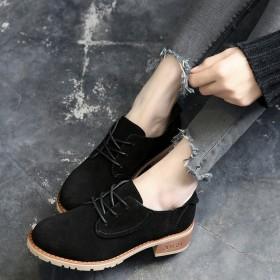 粗跟单鞋女真皮春季新款复古英伦风女鞋