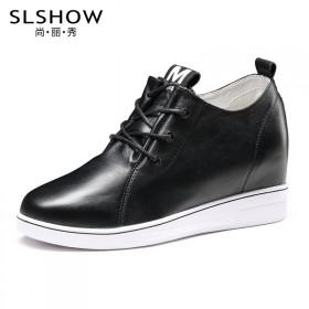 尚丽秀春季韩版真皮百搭内增高小白鞋女休闲板鞋女鞋