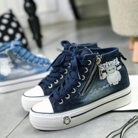 春季新款帆布鞋女韩版平底内增高女鞋厚底休闲鞋