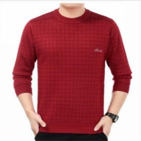 中年男士毛衣加厚红色套头圆领羊绒衫加绒爸爸装